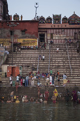 Holy Varanasi (OvalOne) Tags: india varanasi ganga ganges river holy holyriver locals washing early morning ghat kedar kedarghat