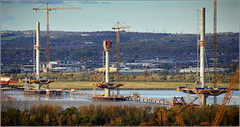 Mersey Gateway Project (Cable Stayed Six Lane Bridge under construction) 1st November 2016 (Cassini2008) Tags: merseygatewayproject cablestayedroadbridge bridgeconstruction rivermersey runcorn widnes towercranes rubricaengineering rubricaformtravellers