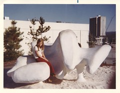 1974 - Mary Brickner With Sulpture at Expo 74 (The Cardboard America Archives) Tags: expo74 spokane washington foundphoto 1974 worldsfair
