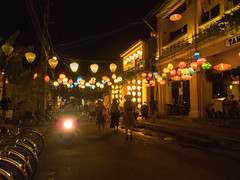 Evening in Hoi An (Xnalanx) Tags: asia buildings environment hoian lanterns lighting manmade moped night objects people places restaurant road time tourists vehicles vietnam