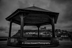 Whitby bandstand (jameshowardphotography) Tags: mono monochrome bandstand st marys church town whitby harbour water pier houses