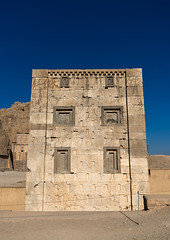 The tower knows as the kabah of zoroaster in naqsh-e rustam necropolis, Fars province, Shiraz, Iran (Eric Lafforgue) Tags: 0people achaemenid ancient antique antiquities archeology architecture blue brick clearsky cliff colorimage cube darius day history iran iranianculture kabayezartosht kabah middleeast naqsherostam naqsherustam necropolis nopeople nobody oldruin outdoors perseus persia photography rock royaltombs rustam shiraz site sunny temple thepleiades tourism touristic traveldestinations unescoworldheritagesite vertical zoroastrian farsprovince