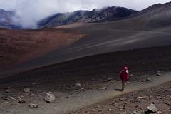 Solitary path (marko.erman) Tags: hawaii maui usa united states island archipel volcano haleakala shieldvolcano crater caldera lavafield lava walk path solitary landscape red mood moody mist sony