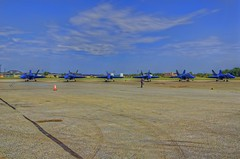 Blue Angels on tarmac (cmfgu) Tags: martinstateairport essex md maryland baltimorecounty openhouse fleetweek airshow blueangels mcdonnelldouglas fa18hornet unitedstatesnavy usn airplane aircraft jet aerobatic flight demonstration team tarmac hdr highdynamicrange