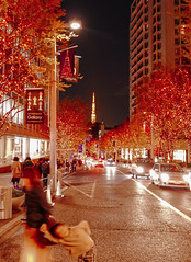 Signal changed, go quickly!! (sapphire_rouge) Tags:   roppongi  japan   skyscraper roppongihills darkness illumination    keyakizaka tokyotower