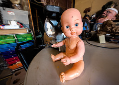 Beware: baby doll with powertool (Dennis Valente) Tags: panorama usa baby art washington doll panoramic hdr ellensburg papermache powertool 2015 32bit mitersaw preparade isobracketing buskersintheburg 5dsr