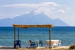 a good place to stay (ToDoe) Tags: blue sea beach strand table meer chairs greece macedonia griechenland athos mountathos chalkidiki bluesea halkidiki sithonia makedonia ysplix