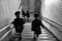 Into The Bowels Of The Earth They Went (alisdair jones) Tags: leica station japan stairs subway tokyo schoolboys m240 idabashi summiluxm11435asph