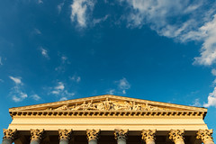 Classical architecture of the Hungarian National Museum in Budapest (basair) Tags: blue sky sculpture museum architecture triangle europe hungary dusk capital budapest columns landmark east classical pediment tympanum