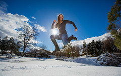 Happy Love to Leap Thursday! (Flickr_Rick) Tags: winter woman snow cold girl outside jump jumping breanne jumpology lovetoleapthursday
