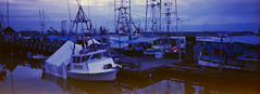 Steveston Fishing village (Orion Alexis) Tags: panorama fish film docks 35mm boats town fishing village ships salmon 200 fujifilm 135 expired xpan steveston monger kodacolor vrg tx1