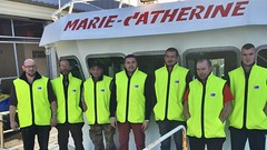 The crew of the Marie-Catherine in Cherbourg, France