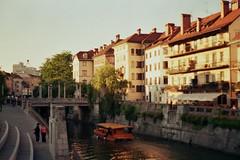On the sunny side of the banks (lumiDkrof) Tags: analog ljubljana riverbank ljubljanica