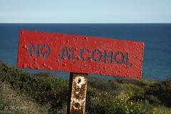 No Alcohol? (VenturaMermaid) Tags: noalcohol sign signage alcohol ignorethesigns scenic ocean pacificocean socal sober sobriety view viewpoint outside outdoor sunny sunlight afternoon coast red malibu californiacoast