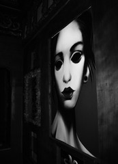 Haunted and Haunting (dimg) Tags: athens greece black white monochrome dark contrast art painting night sony a100