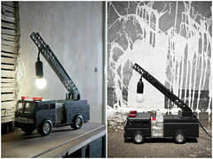 Upcycled Fire Truck Lamp (irecyclart) Tags: design lights recycledart upcycled