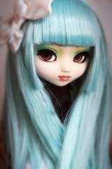Aurora (Antique Wolf) Tags: pullip prunella blue cute eyechips wig eyelashes sweet adorable doll dolls toy toys black shirt blouse bow groove type 3 obitsy obitsu