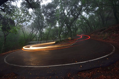 Hairpin spin (Marc Briggs) Tags: dsc85962aw paintedcave curve hairpincurve taillight headlight lighttrail fog hairpin