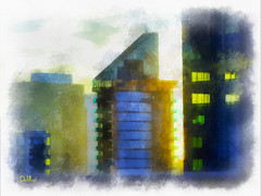 Urban Sunset (lloydboy52) Tags: urbansunset midtown midtownmanhatten manhatten sunset urban newyorkcity newyork nyc architecture architecturalrendering architecturalillustration illustration building skyscraper