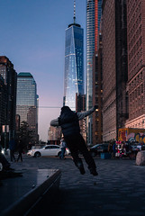 Tag | New York, New York (Stefan Hueneke) Tags: stefan hueneke new york jersey city manhattan downtown battery park south cove pier a world trade center one 1 freedom tower plaza canon t5i 2470mm sunset golden hour playing tag youre it boy jumping street yellow taxi photography purple blue greenwich washington people film grain