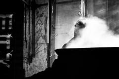 (willy vecchiato) Tags: fog man candi street strada blackandwhite biancoenero monochrome monocramatico nebbia fumo smoke night notte 2016 x100s fuji portrait ritratto