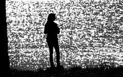 Enlightened Autumn Fishing (jrussell.1916) Tags: fishing reflections sunlight morninglight silhouette blackwhite bw autumn canonef70200f4lis14tc lakes