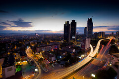 At dusk from hotel window (haroonmughal) Tags: landscape skyline lighttrail nightscene dark longexposure