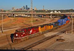 "Westbound Intermodal in Kansas City, KS (""Righteous"" Grant G.) Tags: mkt katy missouri kansas texas heritage unit locomotive train trains up union pacific csx csxt transportation ge emd city west westbound intermodal power"