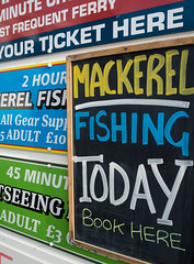 Gone fishing (S's images) Tags: brixham harbour mackerel fishing advertising black board text words writing abstract blue green red white
