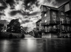 Coxes Lock (martin_rees) Tags: coxeslock weynavigations weybridge addlestone surrey england uk longexposure nd hdr monochrome blackandwhite nik hdreffectspro2 silvereffectspro2 canal water sky clouds weir mill house landscape nd1000