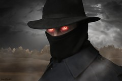 Dark One (The Infamous Blue Tie) Tags: evil dark man fedora long coat mystical eyes glow red mask mountains desert clouds storm fog eerie scary creepy spooky