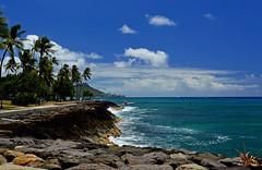 Kakaako Waterfront Park (jcc55883) Tags: hawaii oahu honolulu kakaako kakaakowaterfrontpark panics pointpanic diamondhead ocean pacificocean sky clouds horizon nikon nikond3200 shoreline rocks outdoor