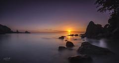 Anstey's Cove sunrise (Mark Frost :)) Tags: ocean uk morning blue sunset red sea sky panorama orange cliff sun rock clouds sunrise landscape rocks purple pano cliffs devon granite pan torquay