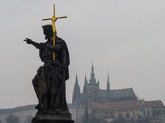 Statue of St. John the Baptist (PangolinOne) Tags: bridge statue architecture prague cathedral places praskhrad panasonic czechrepublic charlesbridge stvituscathedral praguecastle karlvmost hlavnmstopraha panasonicdmcfz38 dmcfz38