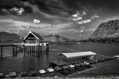 Tha Thung Na Dam in Kanchanaburi province Thailand (FimRay) Tags: sky blackandwhite bw mountain water monochrome landscape landscapes dam structure supply hydroelectricity