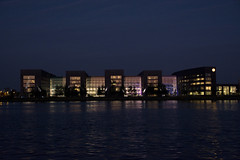 Shell Technolgy Centre Amsterdam (jopperbok) Tags: city pink light black building adam water netherlands dutch amsterdam architecture night buildings dark lights harbor technology centre shell wah ijmeer houthaven werehere hereios jopperbok