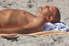 Sleeping man on beach (LarryJay99 ) Tags: hairy man male guy beach hands nipples arms legs florida sandy fingers profile bald piercing dude atlantic flipflop belly asleep dudes navel nips atlanticocean hairylegs blackmale delraybeach armpits navelpiercing floridabeaches hairyman hairyarms canonef70300mmf456isusm canon60d nipplebar peekingpits ilobsterit facefacialhair zoomatlanticocean