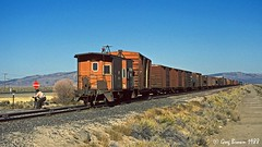 An ASEUM and an EUASM at Moran - 2 of 4 (C.P. Kirkie) Tags: southernpacific sp spmodocline california nco nevadacaliforniaoregon railroads trains timberindustry lassencounty moran ssw cottonbelt caboose sagebrush