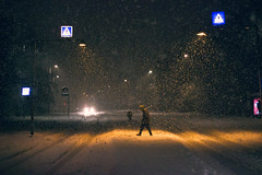 Pedestrian (MalteRasmussen) Tags: road street city blue winter light urban snow man cold green colors yellow night contrast canon dark walking denmark outside person evening colorful alone colours shadows gloomy darkness cross snowy walk candid pedestrian late intersection lonely