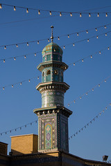 Minaret of The shrine of Fatima Al Masomeh in Qom, Iran (berengere.cavalier) Tags: door shrine iran minaret mosque shia bluemosque fatimah masoomeh iwan qom jamkaran holyshrine masumeh masumah
