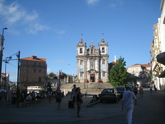 in Porto  Santo Ildefonso Church (VERUSHKA4) Tags: street city blue light summer sky people sculpture building portugal church car evening europe cityscape view bell album religion july kirchen sunny ciel porto shade decor portuguese vue santo ville ildefonso hccity