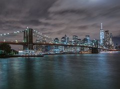 Brooklyn Bridge Nightscape (Wizard CG) Tags: world road nyc bridge building water skyline architecture brooklyn night digital landscape ed four photography lights photo arch waterfront outdoor steel ngc dumbo bridges olympus tourist structure freeway micro infrastructure hdr attraction 43 thirds trekker m43 photomatix mzuiko