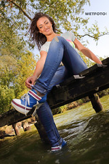 Fully Clothed Swimming by Sexy Girl in Ripped Tight Jeans and T-Shirt in Heels Shoes #349 (Wetlook with WetFoto.com) Tags: wetlook wetfoto photos video wetgirl brunette wethair getwet soaked fullyclothed rippedtightjeans heelsshoes tshirt lake