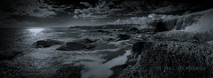 Catterline in infrared (1M090068 8x1x1 E-M1 20mm iso100 f4 0.4s) (Mel Stephens) Tags: 20161008 201610 2016 q4 aberdeenshire scotland uk catterline coast coastal ptgui stitched panorama panoramic ir infrared bw black white monochrome landscape seascape widescreen olympus omd em1 m43 microfourthirds mirrorless panasonic lumix 20mm best