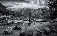 Ancient Delphi (Joe Szalay) Tags: delphi greece landscape blackandwhite monochrome worldheritage mountains clouds