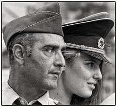 Relationships between East and West aren't what they were at Berlin's Checkpoint Charlie (Andy J Newman) Tags: berlin checkpointcharlie candid street streetphotography portrait nikon d500 silverefex