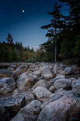 Jordan Pond Twilight (59roadking - Jim Johnston) Tags: ifttt 500px acadia maine national park hancock county rocks sky blue trees twilight moon autumn fall