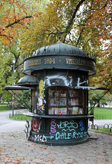Old iron (1894) kiosk that's seen better days in Sofia Bulgaria. (David Russell UK) Tags: c1894 1894 iron kiosk building structure news stand graffiti colour colours colors color park public space open area sofia city bulgaria