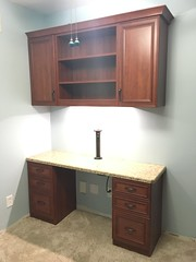 A Boaz Bed and Office in Wild Apple with Glazed Doors and Crown Molding (murphybeddepot) Tags: glazed crown cove wild apple wildapple desk powercenter usb gooseneck office boaz file filedrawers wall2wall walltowall