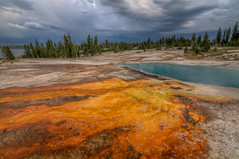 Color Your World (JeffMoreau) Tags: west thumb geyser basin wyoming landscape storm national park yellowstone lake bacteria orange findyourpark nps100